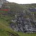 Übersicht Geisswegli, Rot: der Richtige Pfad gut sichtbare Spur T4. Blau: die Variante die sich ergibt wenn man beim Schild einfach weiterlatscht… Weglos, Querung im Abschüssigen Gelände T5