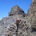 Brüchige Kraxelstelle vor dem Gipfel des Huserhorns