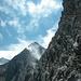Beim Abklettern über den NE-Grat: von rechts N-Gipfel, Gross Wellhorn und Rosenhorn