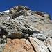 Letzte Kletterstelle (II), bevor der Firnhang erreicht ist.