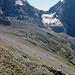Nochmals Blick zurück, Hütte, Gamchigletscher und Lücke, Moränenweg