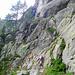 Kurz vorbei der Aiguillette d'Argentière trifft man auf die ersten Leiter