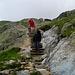 Holztreppenstufen im Abstieg vom Lac Blanc