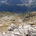 In basso verso All'Acqua. a sinistra il sentiero per la Piansecco