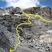 itinerario di salita dalla Leiterli e di discesa per raggiungere il ghiacciaio e la via normale, non è difficile