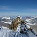 Wir haben es geschafft, auf dem Schweizer Gipfel, Blick zu den Slowenen auf dem Italiener Gipfel!