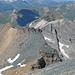 Blick zurück auf die Aufstiegsroute; von links P3112 (gelber Felskopf), Schwarzhorn und Punta Gerla.