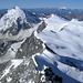 Grosse Gletscherwelten und hinten links ein nächstes Ziel, die Dent d' Hérens 4171m