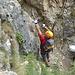 Monika in der steilen Stelle am Beginn