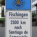 Fischingen - Station auf dem Jakobsweg. Es ist noch ein weiter Weg bis nach Santiago de Compostela