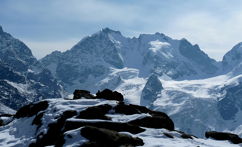 Piz Bernina und Piz Scerscen von der Fuorcla Surlej