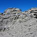 Rotstock Gipfel, rechts Ausstieg vom Klettersteig