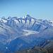 Aletschgletscher mit Finsteraarhorn und weiteren Bergen...