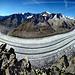 Aussicht vom Strahlhorn auf den Aletschgletscher (180° Panorama)