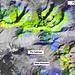 Falschfarben-Satellitenbild der Ela Region: Dolomit: hellgrün, Bündnerschiefer, Kalk: blau, Granit, Gneiss: dunkelgrün
