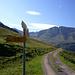 Bei der Chüealpe gehts nach links, zuerst über flache Almwiesen bergan.