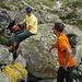 Markus und Roger beim Päusli im Aufstieg zur Almagellhütte