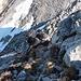 Im Abstieg zum Felsabbruch (Abseilstelle)