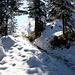 Um die Ecke und dann ist der Gipfel erreicht,<br />der Weg wird eisiger
