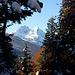 Weiterweg hinunter zum Ferchensee, <br />im Hintergrund Blasser und Alpspitze.<br />Auf den gefrorenen Neuschnee auf den Ästen sollte man aufpassen, einige Brocken habe ich gespürt.