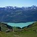 Inzwischen ein gutes Stück oberhalb der Gummi-Alpe (1755m) ca. 1/2h vor dem Chruterepass.<br />Über dem Brienzer See wachsen die Berner 3 und 4000er in den Himmel.