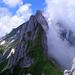 Rückblick auf die wilden Zacken von Schafbergturm, Fälentürm und Altmann