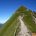 Auf dem etwas exponiertem Grat - aber immer ohne Probleme - dennoch:  ganz schön steiler Grasbuckel der Arni.