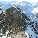 Auf dem Gipfel, Blick auf die Schlüsselstelle der Tour