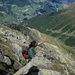 Der Aufstieg-Grat steht über [u Stani]-Hand und die Abstieg-Route unter.