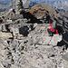 die neckische Stufe unmittelbar nach dem Gipfel