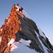 Abstieg vom Gipfel des Täschhorn über plattige Felsen mit Schnee
