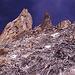 Dent du Geant und die steile unangenehme Aufstiegsflanke rechts