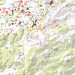 Ausschnitt aus der Karte mit dem eingezeichneten Wanderweg in der Kartenmitte (rote linie durchgezogen und gepunktet).