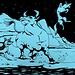 Da uno squarcio nel buio uscì una furia al galoppo, il primo sciacallo fu incornato e sbattuto in aria come il bouquet della sposa a fine cerimonia, il secondo travolto e calpestato dalla massa del bovino in corsa.