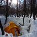 Ein friedlicher Morgen nach einer Nacht mit etwas Neuschnee. Der Schneewall leistete gute Dienste gegen die heftigen Winde. Das Zmorge steht schon bereit...