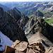 Im Aufstieg zum Mount Sneffels - Rückblick im Gegenlicht aus dem Couloir hinunter zum Lavender Col.