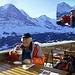 Startkafi im Bergrestaurant Bussalp bei -5°, exakt wie vor 4 Jahren (rechts oben)