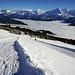 Blick retour, steiler Winterwanderweg zwischen Schlittel Weg und Skipisten…