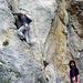 Marion und Robert am Einstieg der Kleinen Prasvale Südostwand (IV+)