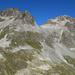 Links Piz Suvretta, rechts Piz Bever. Meine ganze Aufstiegsroute ist hier ersichtlich.