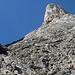 Klettersteig-Passage, darüber der Exnerturm