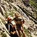 """Am Einstieg der """"Crete Rosse"""". Sepp, einen Wiener Bergsteiger, trafen wir am Gipfel. Zusammen mit ihm stiegen wir den Süd-Klettersteig ab."""