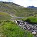 Gafiersee: im Hintergrund nochmals Madrisa, links davon der namenlose Gipfel (2460), von wo ich zum See abgestiegen bin.