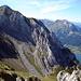 Blick vom Bockmattli: Über die Kante von rechts unten führt die Route