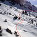 Il sentiero estivo Stou di sotto - Alpe Vigogne oltre ad essere ripido è rovinato da valanghe, decidiamo di scendere al Ri di Vignone e salire sul lato opposto Perdiamo quasi 80mt di quota. In rosso il percorso seguito