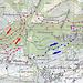 "Übersicht… Blau: Ruine Gaffer Tschingge, Rot: Zugang Latterbachflue, Pink:  Zugang ""Gipfel"" Latterbachflue gemäss altem SAC Führer"