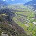 Tiefblick auf die Bündner Herrschaft mit unserem Ausgangspunkt Fläsch. Links am Bildrand der Vorder Ochsenberg, von wo der schöne Serpentinenweg nach Fläsch runter führt