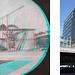 """Wer glaubt, 3D-Aufnahmen seinen eine Erfindung unserer Zeit, der irrt. Bereits in den Anfangsjahren nutzten kluge Köpfe das neue Medium Fotografie, um mittels spezieller Stereokameras oder einer normalen, auf einer Stereowippe montierten Kamera, eine räumliche Wiedergabe von Stadt und Landschaft zu erzielen. Zum Betrachten der Bilder diente ein Stereobetrachter, oder man nutzte einfach den so genannten <a href=""""http://de.wikipedia.org/wiki/Kreuzblick#Der_Kreuzblick"""" rel=""""nofollow"""">Kreuzblick</a>, was man auch heute noch ausprobieren kann. Mithilfe geeigneter Software wie dem freien <a href=""""http://stereo.jpn.org/ger/stphmkr/index.html"""" rel=""""nofollow"""">StereoPhotoMaker</a> kann man heutzutage aber auch sehr einfach Anaglyphenbilder davon herstellen, welche mit einer entsprechenden Stereobrille einen mühelosen 3D-Blick in die Welt vor mehr als 150 Jahren ermöglichen.  Im Juni 1856 hat der Abbruch der Kavalleriekaserne (auch Artilleriezeughaus oder äusseres Zeughaus genannt) bereits begonnen (<a href=""""http://katalog.burgerbib.ch/detail.aspx?ID=101883"""" rel=""""nofollow"""">Burgerbibliothek Bern</a>). Gut zu sehen ist ein Tretkran, der in <a href=""""http://www.hikr.org/gallery/photo789872.html?post_id=50496#1"""">Zusammenhang mit dem Bau der Roten Brücke</a> erläutert wird. Rechts im Hintergrund lassen sich schwach die Kavalleriestallungen erkennen, während der Horizont vom vollkommen unverbauten Südhang der Grossen Schanze gebildet wird. Durch das Areal der Kavalleriekaserne und -stallungen verlaufen ab 1858 die Gleise zum Kopfbahnhof. Heute liegt dort das Gleisfeld in der Perronhalle. Die Kavalleriekaserne wurde kaum 200 Meter entfernt, anstelle des alten Schallenhauses wieder aufgebaut und dabei um ein Stockwerk erhöht. 1965 wurde auch dieses Gebäude abgerissen.  Heute ragt hier das Dienstgebäude Bollwerk Süd in die Höhe (fertiggestellt Ende 1969), welches im Gegensatz zum gleichartigen Aufnahmegebäude noch die ursprüngliche Fassade zeigt."""