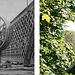 """Baustelle der Roten Brücke im Sommer 1858 mit einem für die damalige Zeit noch typischen Tretkran, auch «Krakeel» genannt [5]. Das Modell eines solchen Krans ist im Historischen Museum Bern ausgestellt, anhand dessen ersichtlich ist, wie die Konstruktion funktioniert. Laut der <a href=""""http://static.nzz.ch/files/5/5/3/Kostbarkeiten+Verkehrshaus_1.10219553.pdf"""" rel=""""nofollow"""">NZZ vom 11.08.1968</a> befindet sich auch im Verkehrshaus Luzern ein solches Modell. In diesem Bericht wird auch erwähnt, dass beim Bau der Nydeggbrücke 1841 Sträflinge des Schallenhauses im Tretrad schuften mussten. Ob das auch auf dieser Baustelle der Fall war, entzieht sich meiner Kenntnisse, möglich ist es aber durchaus. Wer übrigens jemanden einen «Krakeeler» nennt, erinnert dabei ganz nebenher an diese ansonsten weitgehend vergessene Maschine.  Den Aufnahmestandort für die Gegenüberstellung habe ich bewusst etwas nach Süden verschoben, da beim ehemaligen Standort der Roten Brücke heute alles dicht bewaldet ist. So erkennt man die Lorrainebrücke, die als Ersatz für die Fahrstrasse der Roten Brücke in den Jahren 1928 – 1930 erbaut, und am 17. Mai 1930 eröffnet wurde. Sie ist 178 m lang, 18 m breit und liegt 37.5 m über dem Wasser. Der Hauptbogen von 82 m Lichtweite wurde nach dem Verfahren des Berner Ingenieurs Robert Maillart aus Betonquadern konstruiert. Weitere bekannte Brückenkonstruktionen von Maillart sind nebst der Lorrainebrücke, die Schwandbachbrücke in Rüeggisberg und die Salginatobelbrücke bei Schiers. [4, 18]"""