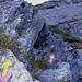 In den Felsen: Markierungspfeile können auch senkrecht nach oben zeigen...